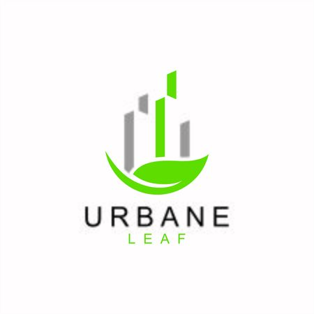 Green leaf with city buildings silhouette. Abstract design concept for ecology theme, real estate agency, building company, urban landscape, Ilustração