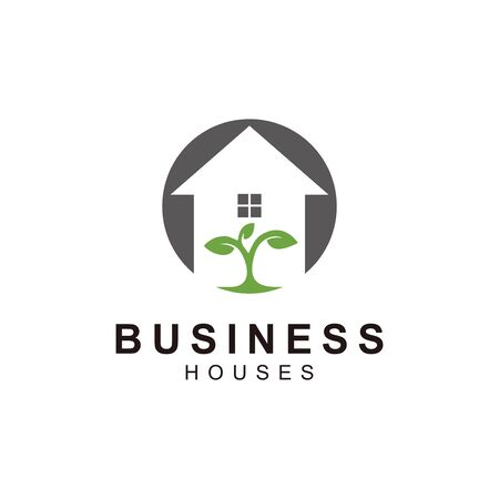logo real estate icon with growing green seeds