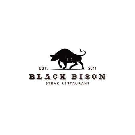 Bison Silhouette with Vintage Typography for Steak Restaurant Logo design