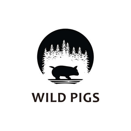 wild pig logo icon silhouette