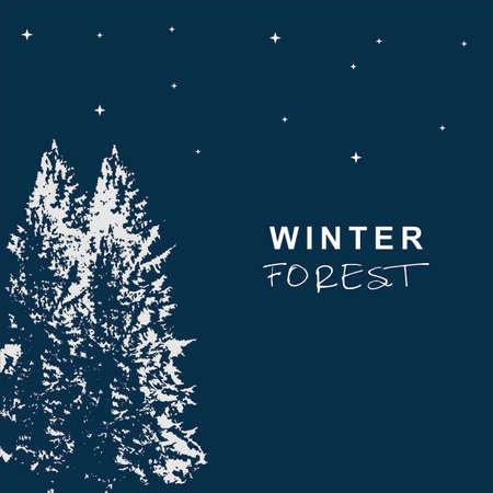 winter forest symbol illustration