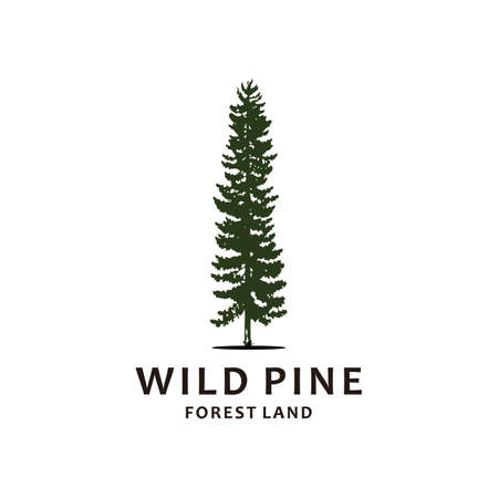 Hand drawn inspirational label with pine trees