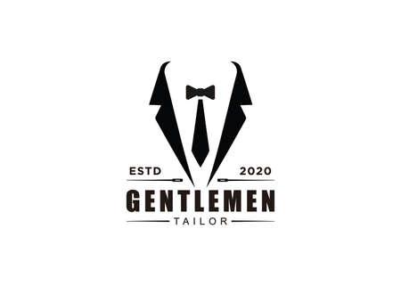 Ribbon Tie Tuxedo Suit Gentleman Fashion Tailor Clothes Vintage Classic Logo design