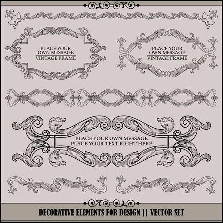 page decoration: vector set: kalligrafische ontwerpelementen en pagina decoratie - veel nuttige elementen voor het verfraaien van uw lay-out