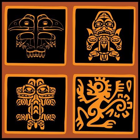 latin american: Vector set - American ethnic elements for design