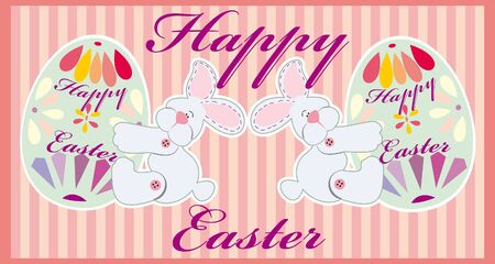 paskha: Two easter funny rabbits with egss