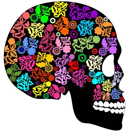 Human skull in flowers
