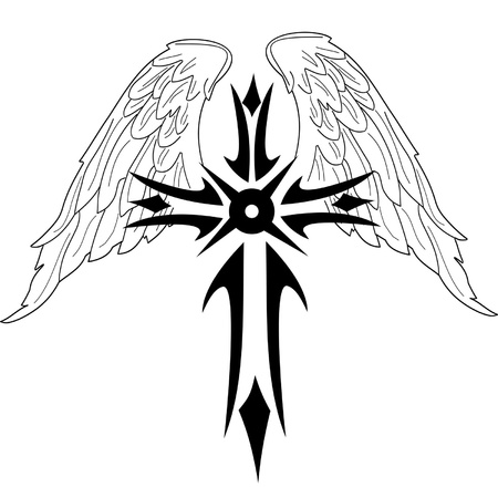 Black cross with wings on white background