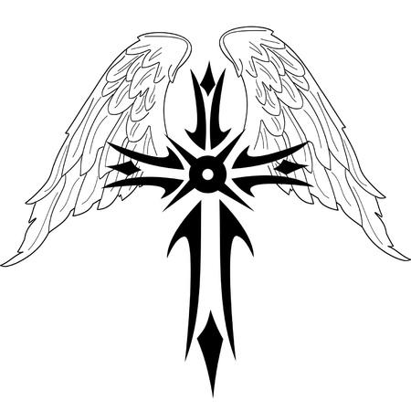 cross and wings: Cruz negra con alas sobre fondo blanco