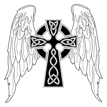 cross tattoo symbol: Black cross with wings on white background