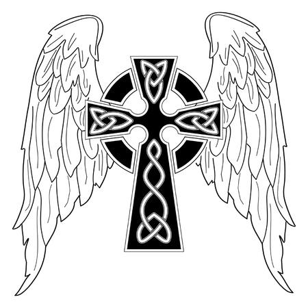 milagros: Cruz negra con alas sobre fondo blanco