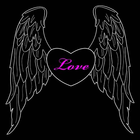 Heart with wings vector illustration Vector