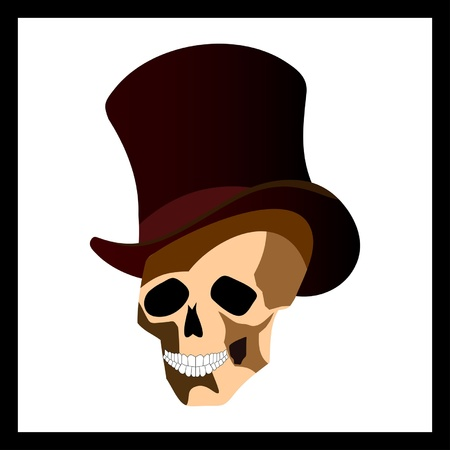 Skull in top hat cartoon Stock Vector - 9185187