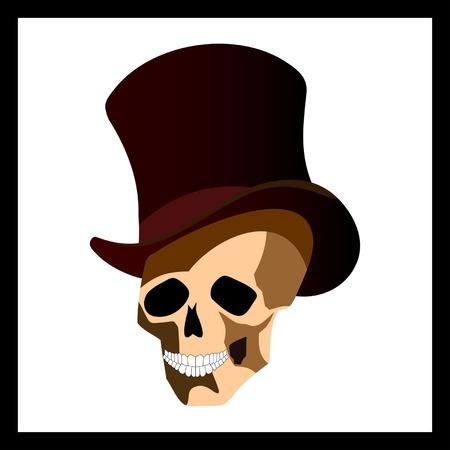 Skull in top hat cartoon Stock Vector - 9185187