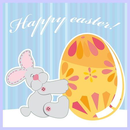 Vector illustration of cute Easter bunny holding egg Vector
