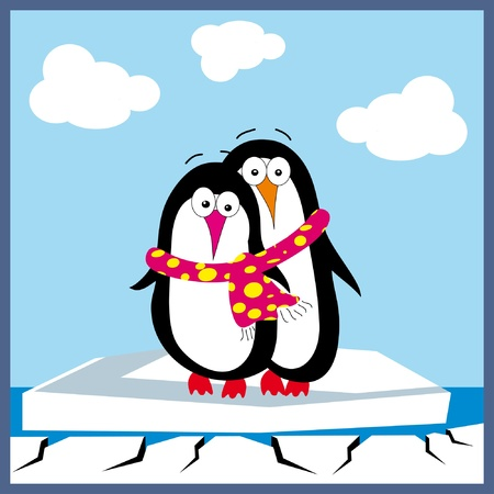 Two penguins in love  Vector