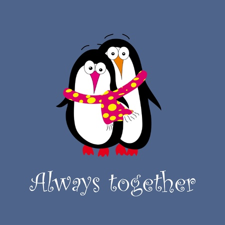 Two penguins in love