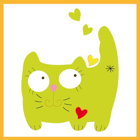 Vector green cat kitty pussicat sits with hearts. Stock Vector - 9649837