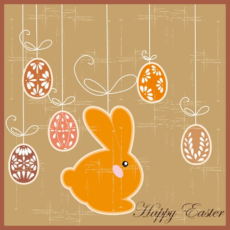 antique postcard with Easter rabbit  Vector