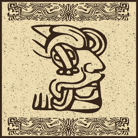 Aztec Indian face on old brown background  Illustration