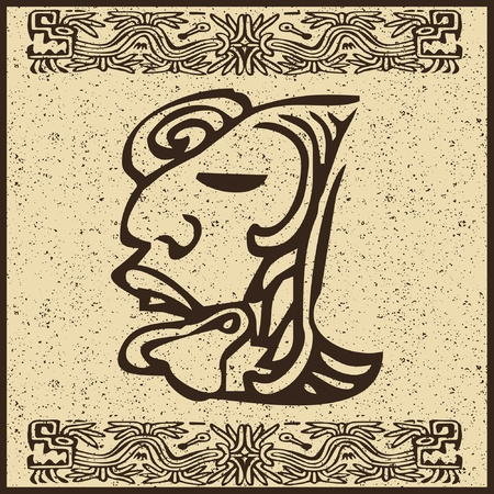 ancient relics: Aztec Indian face on old brown background  Illustration