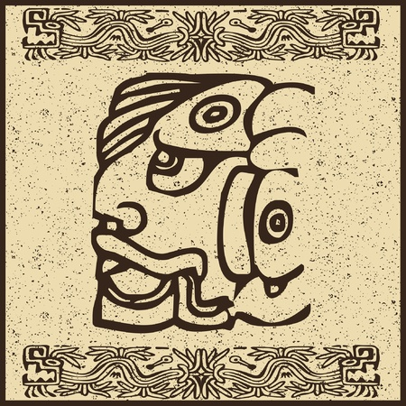 extinction: Aztec Indian face on old brown background  Illustration