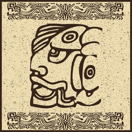superstitious: Aztec indiano faccia su vecchio sfondo marrone