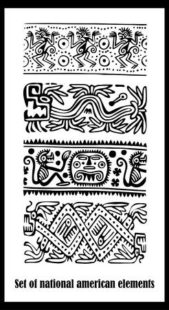 indio americano: Vector conjunto - patrones nacionales indios americanos Vectores