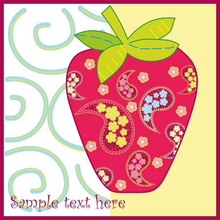 Vector strawberry frame . Red berry and pink flowers  Vector