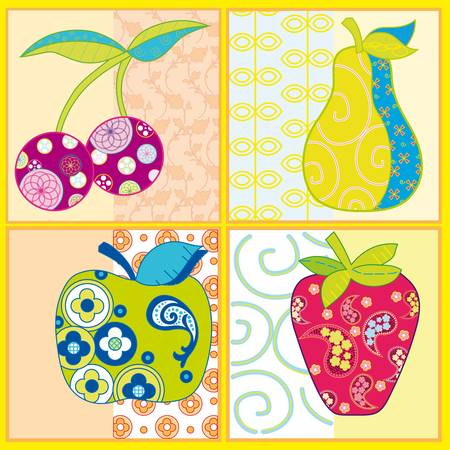 Abstract fruits isolated on a colorful background Stock Vector - 9649887
