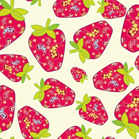 Vector strawberry seamless background  Illustration
