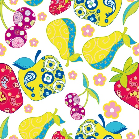 Cute fruits seamless background  Illustration