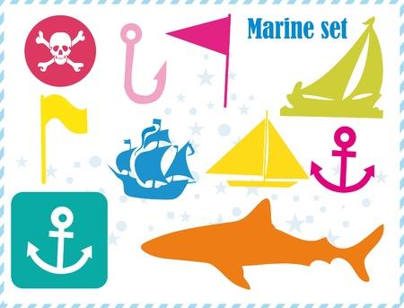 Postcard with pirates set  Stock Vector - 9649821