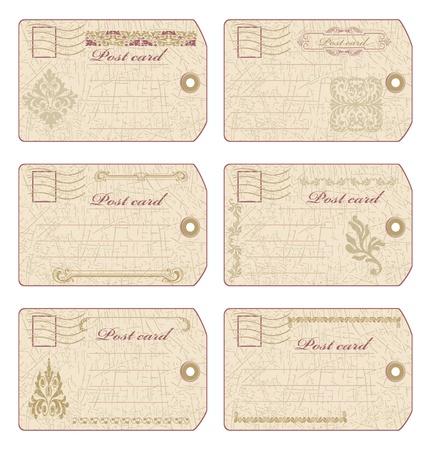 post card: Set of old grunge postcards vector