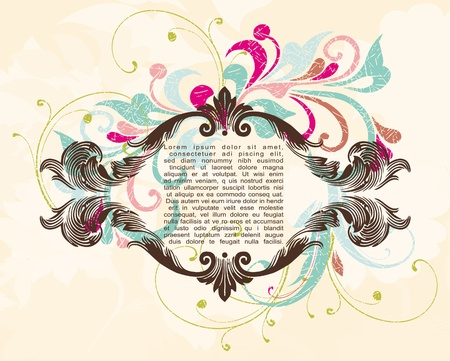 ornate engraved vintage decorative vector frame with place for text or message Illustration