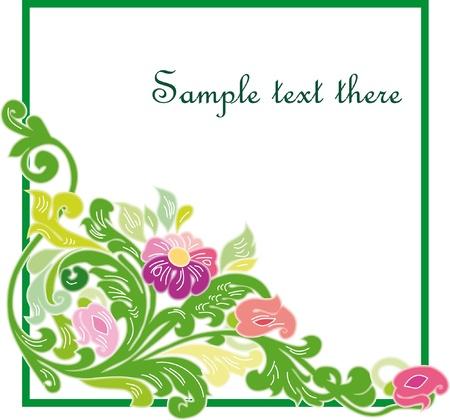 reconnaissance: Beau cadre floral vintage. Illustration