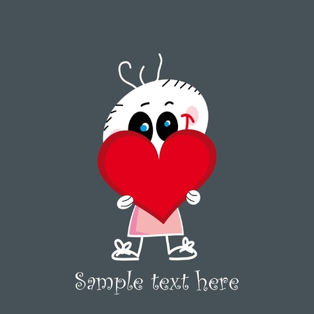 Cute little baby holding a red heart - Valentine illustration Vector