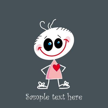 Cute little baby holding a red heart - Valentine illustration