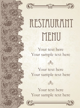 menu card design: Vector. Restaurant menu design