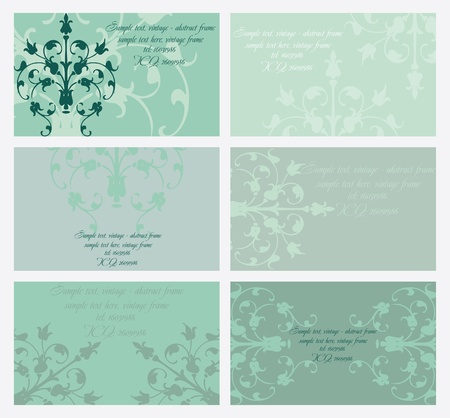 floral business card set Illustration