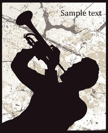tenore: Silhouette di uomo con tromba su fondo grunge