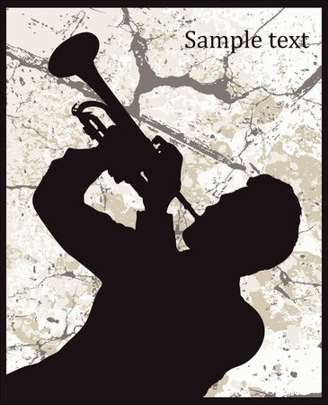 saxophonist: Silhouette of man with trumpet on grunge background