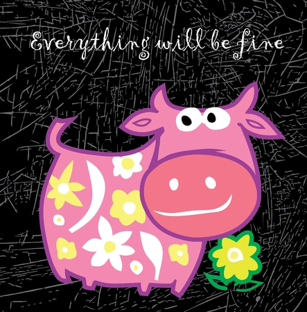 Cartoon pink cow. Vector illustration. Isolated on black. Vector