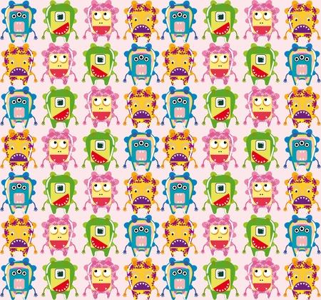 Seamless monster pattern Vector