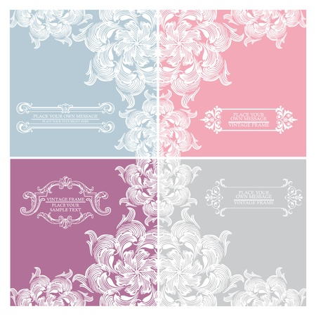 Set of elegance vintage invitation cards place for text or message Stock Vector - 10826566