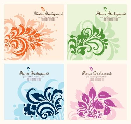 Set flower background, element for design Illustration