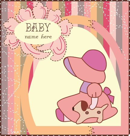 Baby Girl Invitation Card Vector