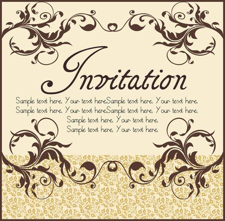 Vector ornate narrow frame with sample text and borders. Perfect as invitation or announcement. All pieces are separate. Easy to change colors and edit. Vector