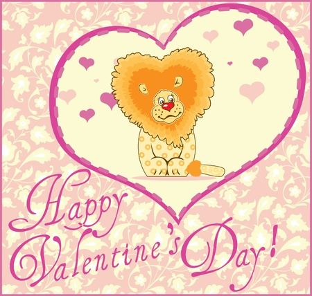 Valentine Greeting Card With Lion Stock Vector - 12450390