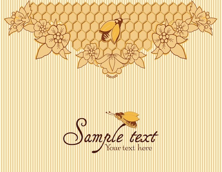 mead: Background with bees, and honeycomb